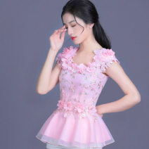 Lace / Chiffon Summer 2020 Petals pink, pink 1153, pink 1973, pink 2133, pink 2031, pink 2131 S,M,L,XL,2XL,3XL,4XL Short sleeve commute Socket singleton  Self cultivation Regular square neck Solid color routine 30-34 years old Love with pearls and flowers lady 91% (inclusive) - 95% (inclusive)