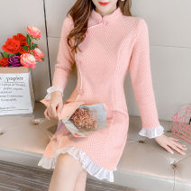 Dress Winter 2020 Pink S,M,L,XL Mid length dress singleton  Long sleeves commute stand collar High waist Solid color Socket A-line skirt routine Others 25-29 years old Type A Retro Stitching, stereo decoration, buttons 51% (inclusive) - 70% (inclusive) knitting