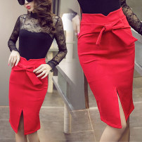 skirt Summer of 2019 S,M,L,XL,2XL,3XL,4XL,5XL Red, black Short skirt commute High waist skirt Solid color Type H 25-29 years old 71% (inclusive) - 80% (inclusive) other other Korean version