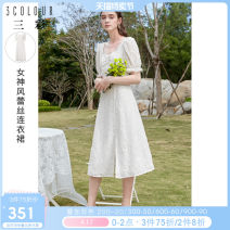 Dress Summer 2021 White pre sale within 15 days 155/80A/S 160/84A/M 165/88A/L 170/92A/XL 175/96A/2XL Mid length dress singleton  Short sleeve commute square neck High waist Solid color zipper Princess Dress puff sleeve Others 25-29 years old Type X Tricolor Simplicity Embroidery D362F3001L10