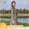 Dress Spring 2021 Coffee color 2 150/76A/XS 155/80A/S 160/84A/M 165/88A/L 170/92A/XL 175/96A/XXL Short skirt singleton  Long sleeves commute tailored collar High waist lattice double-breasted A-line skirt routine Others 25-29 years old Type X Tricolor Retro Pleated button D011812L00 polyester fiber