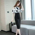 Dress Summer of 2019 black S,M,L,XL Mid length dress Fake two pieces Short sleeve commute stand collar High waist Decor zipper One pace skirt Bat sleeve Hanging neck style 25-29 years old Zhiyu Korean version Stitching, zipper, printing More than 95% polyester fiber