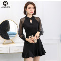 cheongsam Spring of 2019 S M L XL 2XL black Long sleeves Short cheongsam Retro No slits daily Round lapel other 18-25 years old Embroidery F19D039 Allen iver other Other 100% Pure e-commerce (online only)