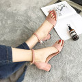 Sandals Khaki Pink Black Sodoi / sodoi Suede Barefoot Thick heel High heel (5-8cm) Summer of 2018 Flat buckle Korean version Solid color Adhesive shoes