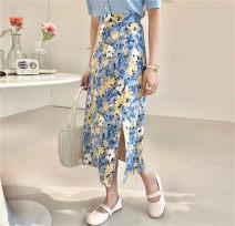 skirt Spring 2021 Average size Red, green, blue Short skirt commute High waist skirt Big flower Type H 31% (inclusive) - 50% (inclusive) Chiffon Lycra Lycra Korean version