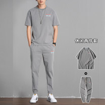 Leisure sports suit summer M,L,XL,2XL,3XL,4XL Medium grey two-piece suit, khaki two-piece suit, Navy two-piece suit, medium grey two-piece suit, khaki two-piece suit, Navy two-piece suit Short sleeve Other / other trousers youth T-shirt AD8778SA8 cotton 2021 flax