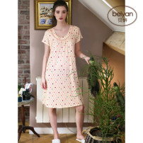 Nightdress Beiyan 160(M) 165(L) 170(XL) Simplicity Short sleeve Leisure home Middle-skirt summer Dot youth Crew neck printing Modal fabric Summer 2020 Modiel 92% polyurethane elastic fiber (spandex) 8% Pure e-commerce (online only)