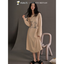 Nightdress Beiyan S4615 color 160(M) 165(L) 170(XL) Cartoon Long sleeves Leisure home longuette spring Cartoon animation youth Crew neck cotton printing More than 95% pure cotton S4615 Spring 2021 Cotton 100% Same model in shopping mall (sold online and offline)