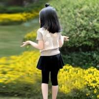 trousers The world of red female 100cm,110cm,120cm,130cm,140cm,150cm,160cm,170cm Green 7-point skirt, orange pink 7-point skirt, light gray 7-point skirt, rose pink 7-point skirt, black 7-point skirt, black skirt pants, light gray skirt pants, white lace T-shirt, vest summer Cropped Trousers Leggings
