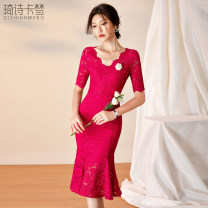 Dress Summer 2020 rose red S M L XL XXL XXXL Mid length dress singleton  Short sleeve commute V-neck High waist Solid color Socket other 35-39 years old Kmengk / qishikameng Simplicity More than 95% polyester fiber Polyethylene terephthalate (PET) 98% polyurethane elastic fiber (spandex) 2%