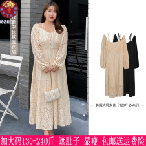 Women's large Autumn 2020 Black, apricot Large XL, 2XL, 3XL, 4XL, 5XL Dress singleton  commute easy moderate Socket Long sleeves Solid color Korean version Three dimensional cutting 18-24 years old Medium length other