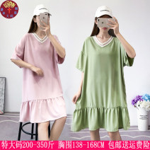 Women's large Summer of 2019 Green, pink, caramel Dress singleton  commute easy thin Socket Short sleeve Solid color Korean version V-neck Polyester, others Three dimensional cutting 25-29 years old 81% (inclusive) - 90% (inclusive) Medium length Ruffle Skirt Cotton 81% - 90%