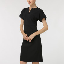 Dress Spring 2021 black S,M,L,XL,2XL,3XL Mid length dress singleton  Short sleeve commute V-neck High waist Solid color zipper One pace skirt Sleeve Type H Thousands of clothes Zipper, stitching other cotton