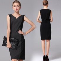 Dress Summer 2020 Black ash S,M,L,XL,2XL,3XL,4XL Mid length dress Sleeveless street V-neck Solid color zipper One pace skirt Thousands of clothes Button, button Europe and America