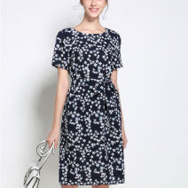 Dress Summer 2020 Decor S,M,L,XL,2XL,3XL Mid length dress Short sleeve commute Crew neck Elastic waist Decor Socket A-line skirt Type A Thousands of clothes Lace up, printed HKD3721