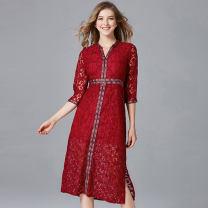 Dress Autumn 2020 claret L,XL,XXL,XXXL,XXXXL,XXXXXL Mid length dress singleton  elbow sleeve commute V-neck other Socket A-line skirt Type A Thousands of clothes Button, lace 14-14130 Lace