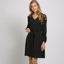 Dress Spring 2021 S,M,L,XL,2XL,3XL,4XL Mid length dress singleton  Long sleeves street V-neck Decor Three buttons A-line skirt Thousands of clothes cotton Europe and America