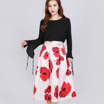 skirt Autumn 2020 S,M,L,XL,2XL,3XL,4XL Decor Mid length dress Natural waist A-line skirt Decor Type A Yulin Pavilion 3D, printing, zipper