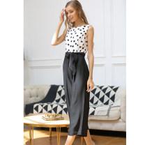 Casual pants Black and white S,M,L,XL,2XL,3XL,4XL Summer 2020 Cropped Trousers Jumpsuit commute Thin money HKJ4235 Thousands of clothes Korean version belt