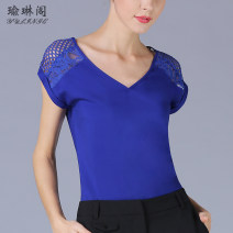 Lace / Chiffon Summer 2020 Blue, black XS,S,M,L,XL,2XL,3XL Short sleeve street Socket singleton  easy Regular V-neck Solid color other Yulin Pavilion Holes, stitches, lace 96% and above polyester fiber Europe and America