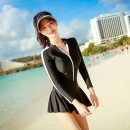 one piece  Swimsuit M,L,XL black Skirt one piece Steel strap breast pad Spandex, nylon female Long sleeves other