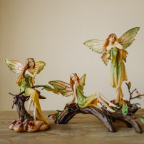 Ornaments resin character Countryside Forest Angel - Thinking (20cm * 14cm) forest Angel - sitting (18cm * 10cm) forest Angel - looking up (27cm * 14cm) forest Angel - picking flowers (15cm * 11cm) forest Angel - sitting (13cm * 21cm) Tabletop ornaments a living room Birds and flowers Marriage SZ235