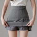 skirt Summer 2021 XXS,XS,S,M,L,XL Gray, black Short skirt commute High waist A-line skirt Solid color Type A 25-29 years old 71% (inclusive) - 80% (inclusive) polyester fiber fold Korean version