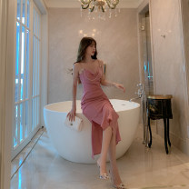 Dress / evening wear Weddings, adulthood parties, company annual meetings, daily appointments S M L Pink sexy Medium length High waist Summer 2020 fish tail Chest type Deep V style 26-35 years old Diamond ornament Solid color ZY · HT / Ziyan Hongteng other Polyester 100% Pure e-commerce (online only)