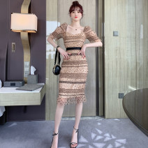 Dress Summer 2020 Apricot S M L Middle-skirt singleton  Short sleeve commute One word collar High waist Dot zipper One pace skirt Princess sleeve 18-24 years old T-type ZY · HT / Ziyan Hongteng lady Open back pleated Auricularia mesh zipper with dovetail printing dots More than 95% polyester fiber