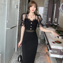Dress Summer 2020 black S M L Mid length dress singleton  Short sleeve commute square neck High waist Solid color Socket One pace skirt other Others 25-29 years old Type H ZY · HT / Ziyan Hongteng Korean version Hollow bright silk hook pattern hollow splicing nail bead yarn net other nylon