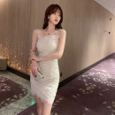 Dress Summer 2020 white S M L Short skirt singleton  Sleeveless commute High waist Solid color zipper One pace skirt camisole 18-24 years old ZY · HT / Ziyan Hongteng Korean version Studded open back pleated mesh zipper lace More than 95% Lace polyester fiber Polyester 100%
