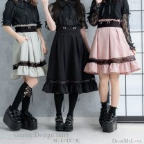 skirt Spring 2021 M,L,LL,3L Pink long, pink short, green long, green short, black long, black short Short skirt Sweet High waist Pleated skirt Solid color Type A 25-29 years old other other Splicing solar system