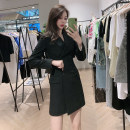 Dress Spring 2021 W08 black Mid length dress singleton  Long sleeves street tailored collar High waist Solid color double-breasted routine Others 25-29 years old Type A Pretend to be amashizheng More than 95% other other Europe and America