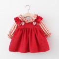 Dress Red, pink, cream, white female Other / other 80cm suggests 0-1 years old, 90cm suggests 1-2 years old, 100cm suggests 2-3 years old, 110cm suggests 3-4 years old Other 100% spring and autumn Korean version Long sleeves lattice cotton Splicing style
