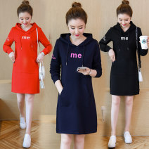 Dress Autumn 2020 Black (without velvet), Navy (without velvet), red (without velvet), black (with velvet), Navy (with velvet), red (with velvet), short sleeve black, short sleeve Navy, short sleeve red S,M,L,XL,2XL,3XL Mid length dress singleton  Long sleeves commute Hood Loose waist Socket routine