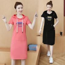 Dress Summer 2021 Black, pink S,M,L,XL,2XL,3XL,4XL longuette singleton  Short sleeve commute Hood Loose waist letter Socket A-line skirt routine Type H Korean version Embroidery 91% (inclusive) - 95% (inclusive) cotton