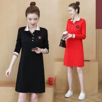 Dress Autumn 2020 Black, red S,M,L,XL,2XL,3XL Mid length dress singleton  Long sleeves commute Polo collar Loose waist letter Socket routine Type H Korean version 91% (inclusive) - 95% (inclusive) cotton