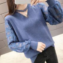 Wool knitwear Spring of 2019 S,M,L,XL Long sleeves singleton  Socket other More than 95% Regular routine commute easy V-neck bishop sleeve Solid color Socket Korean version 25-29 years old