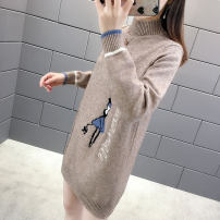 sweater Autumn 2020 M,L,XL,XXL White, pink, red, apricot, peacock blue, camel Long sleeves Socket singleton  Medium length polyester fiber 95% and above Half high collar thickening commute routine Cartoon animation Straight cylinder Keep warm and warm Flying elephant nice FXNJ-13580 Viscose