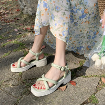 Sandals 35 36 37 38 39 Black Beige green PU Beautiful front Barefoot Thick heel Middle heel (3-5cm) Summer 2021 Flat buckle Korean version Solid color Adhesive shoes Youth (18-40 years old) rubber daily Ankle strap Rough and Roman Low Gang Hollow PU PU Roman shoes Shaving