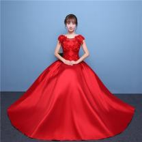 Dress / evening wear Love and promise Handmade flowers Wedding, adulthood, party, company annual meeting, performance, routine, appointment longuette Fluffy skirt Autumn 2016 princess middle-waisted 1606 Brocade Bandage 18-25 years old other Design and color flower Red, green, blue, meat pink