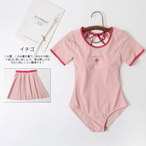 one piece  Miss sweet swimsuit S,M,L,XL Pink With chest pad without steel support Nylon, spandex, others female Short sleeve Casual swimsuit Solid color