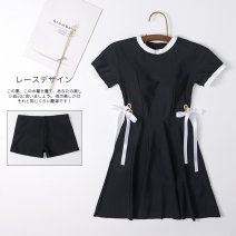 one piece  Miss sweet swimsuit XL,L,M black Skirt one piece With chest pad without steel support Spandex, nylon female Short sleeve Casual swimsuit Solid color