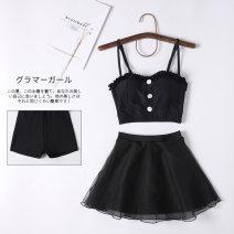 Split swimsuit Miss sweet swimsuit black XL,L,M Skirt split swimsuit Steel strap breast pad Polyester, spandex, nylon female
