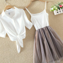 Dress Spring 2017 S,M,L,XL,2XL,3XL,4XL longuette Two piece set Short sleeve commute stand collar middle-waisted Solid color Three buttons Princess Dress other camisole 18-24 years old See baby's description Korean version See baby's description 30% and below Chiffon