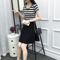 Dress Summer 2021 Black, white, red, blue, black and white S,M,L,XL,2XL Mid length dress singleton  Short sleeve commute Crew neck High waist stripe Big swing other Others Type A Silent Proverbs Korean version Splice, threaded 91% (inclusive) - 95% (inclusive) brocade cotton