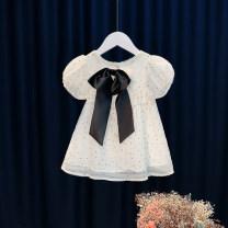 Dress White, pink female Other / other 80cm,90cm,100cm,110cm,120cm Cotton 95% other 5% summer princess Short sleeve other Cotton blended fabric Princess Dress 12 months, 6 months, 9 months, 18 months, 2 years, 3 years, 4 years