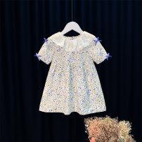 Dress Blue, pink female Other / other 80cm,90cm,100cm,110cm,120cm,130cm,140cm Cotton 95% other 5% summer princess Short sleeve other Cotton blended fabric Princess Dress s6028 12 months, 6 months, 9 months, 18 months, 2 years, 3 years, 4 years