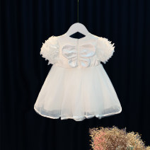 Dress white female Other / other 80cm,90cm,100cm,110cm,120cm Cotton 95% other 5% summer princess Short sleeve other Cotton blended fabric Princess Dress 12 months, 6 months, 9 months, 18 months, 2 years, 3 years, 4 years
