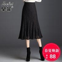 skirt Autumn of 2019 M L XL 2XL 3XL 4XL Black (spring summer thin) longuette commute High waist skirt Solid color Type A A6507 Zaofei Zipper lace Ol style